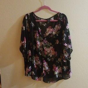 Black floral sheer blouse